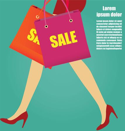 Sexy Women Legs With Red High Heels And Shopping bags, Business Concept Illustration