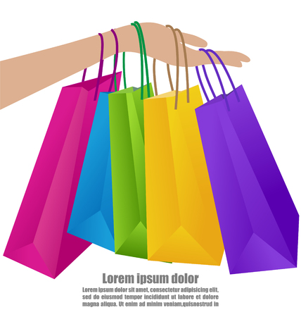 Woman Hand Holding Colorful Shopping Bag, Business Concept