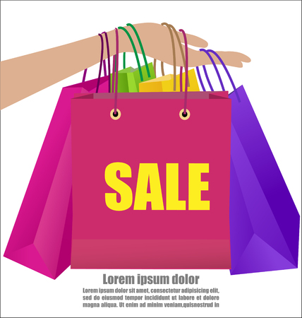 Woman Hand Holding Colorful Shopping Bag Show Sale Campaign