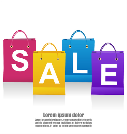 Sale Wording On Shoping Bags On White Background, Business Concept Illustration