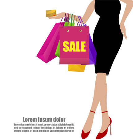 Woman Hand In Black Dresses With Colorful Shopping Bags And Gold Credit Card On White Background Illustration