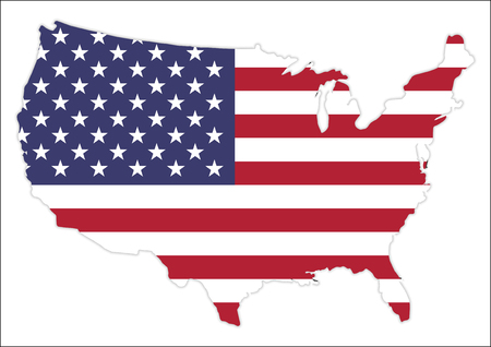 United States of America Map With Waving Flag, Cridit Map By Nasa