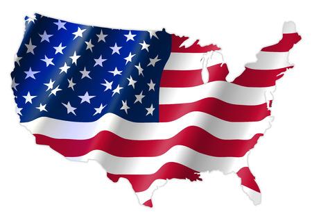Carte des États-Unis d'Amérique avec agitant le drapeau, carte de Cridit par NASA
