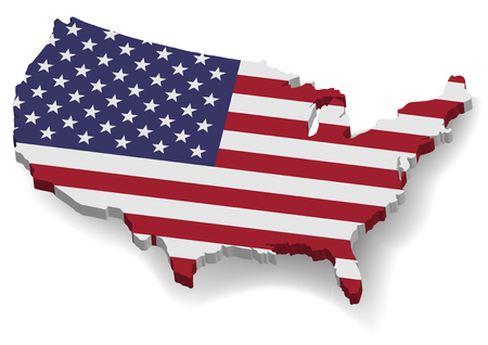 3D United States of America Map With Flat Flag, Cridit Map By Nasa Illustration