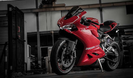 atlantes: Ducati Panigale 899 front view in factory Bangkok ,Thailand