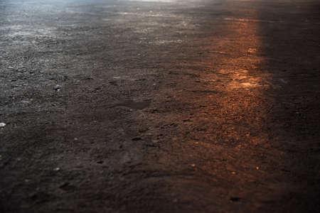 lots: sunset light beam effect on concrete floor parking lots texture Stock Photo