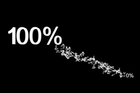 onehundred: 0% to 100% numberic particle 3d illustration isolated  dicut with clipping path Stock Photo