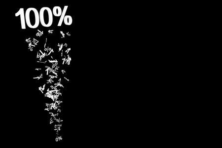 onehundred: 0% to 100% numberic particle 3d illustration isolated