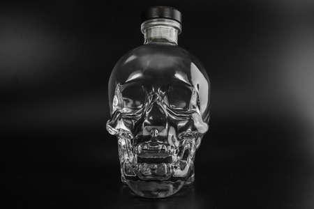 human crystal head skull bottle of vodka photo