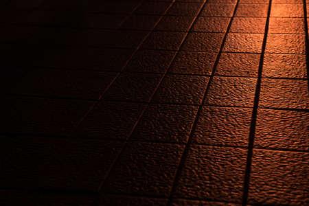 feel feeling: abstract of sunlight reflect on clay tile floor in corridoor of building