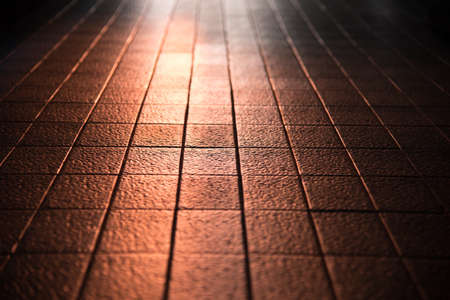 reflect: abstract of sunlight reflect on clay tile floor in corridoor of building