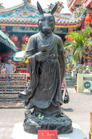 The Chinese Zodiac sculptures displayed at chinese temple photo