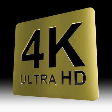 Gold 4K ultra HD sign isolated on black background with clipping path include Stock Photo