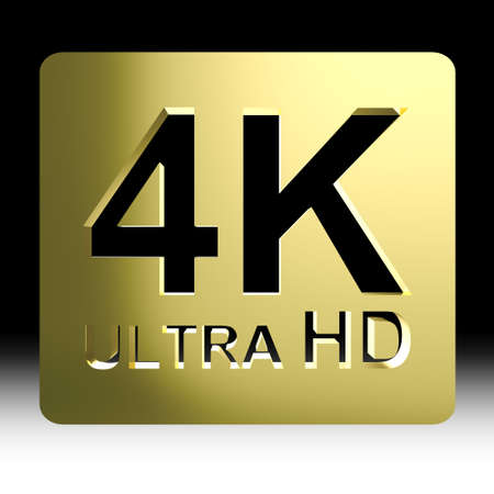 full hd: Gold 4K ultra HD sign isolated on black background