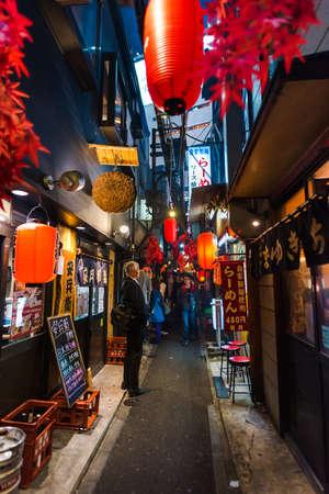 Tokyo, Japan - November 4 , 2017 : Famous steet Piss Alley delicious street food in Tokyo Japan at Omoide Yokocho, Shinjuku Editorial