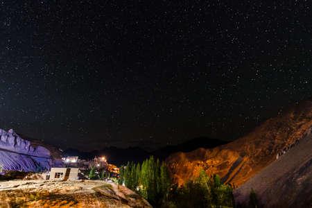 Leh Ladakh ,India - 23 September 2017 Lamayuru Gompa Monastery at moonland with very beautiful million stars night and mountain lighting background