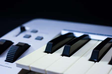 midi: The midi keyboard controller on black background
