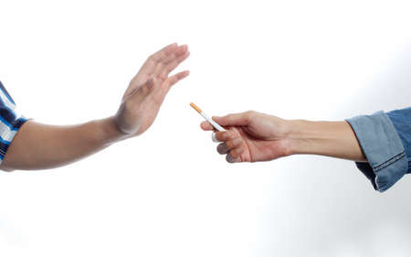 disclaim: The man disclaim cigarette on white background