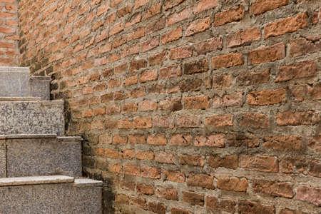 crack climbing: ladder on orange crack wall background