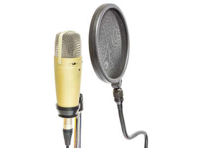 Isolate professional condenser microphone with pop filter in white background Stock Photo