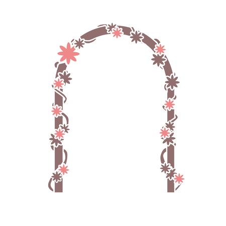 벡터 - 흰색 배경 및 텍스트 장소 꽃 아치. 결혼식 아치. 장식.