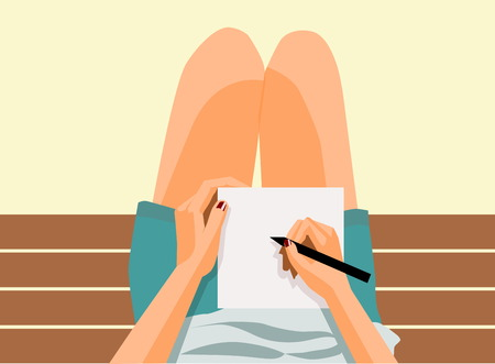 enjoying: illustration of the girl sitting and writing on the bench. top view Illustration