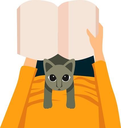 A grey cat sitting on the lap and look up to the woman while reading the book, Vector