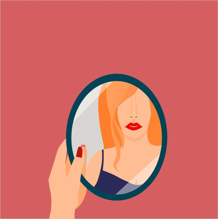 Woman seeing herself at the mirror on the pink background illustration