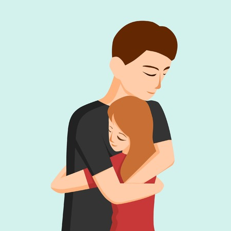 Young couple hugging each other illustration Illustration