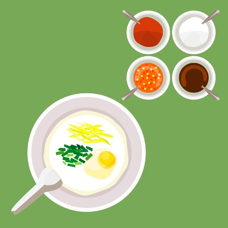 Asia rice porridge or congee including soft boil egg, Chinese parsley and ginger with seasoning illustration. Illustration