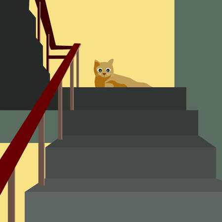A cat looking down while sitting on the stair well illustration. Ilustração