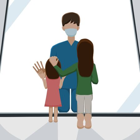 a male doctor kneel while meeting with his family behind glass in order to keep social distance