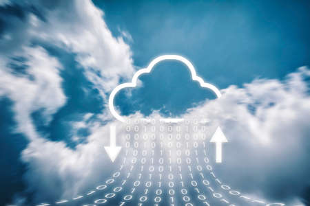 Cloud transferring data storage, on online server technology and cloud icons that are currently downloading and uploading, High speed data with numeric values.data storage technology concepts. Stock Photo