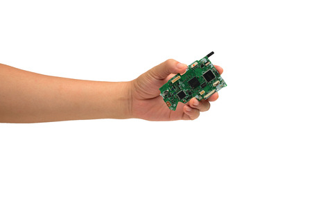 Ic: isolated hand holding IC chip