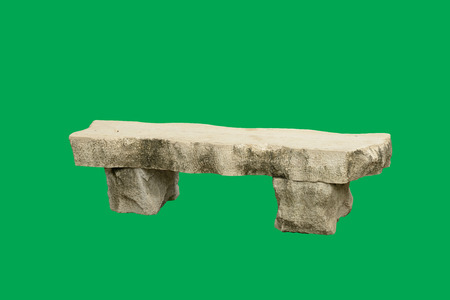 solid background: Concrete bench isolated on green Stock Photo