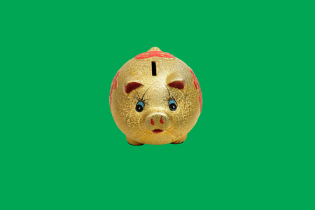 gold piggy bank isolated on green