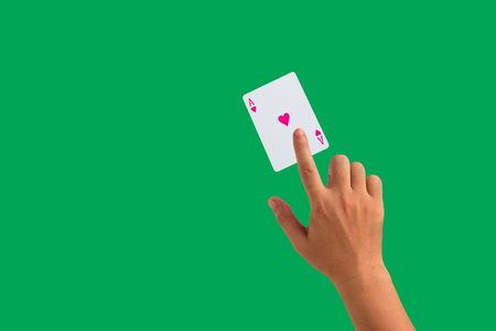 presage: isolated playing cards and hand holding Stock Photo