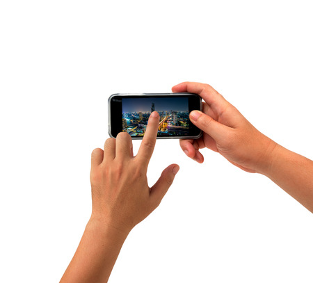 communicator: isolated hand holding cell phone