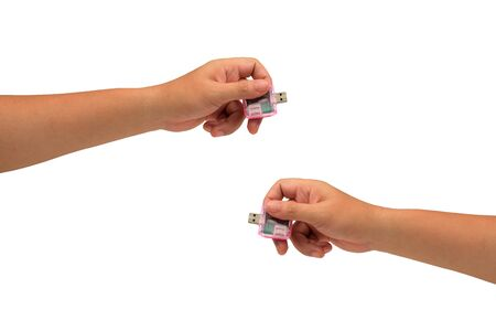 isolated hand holding microcomputer