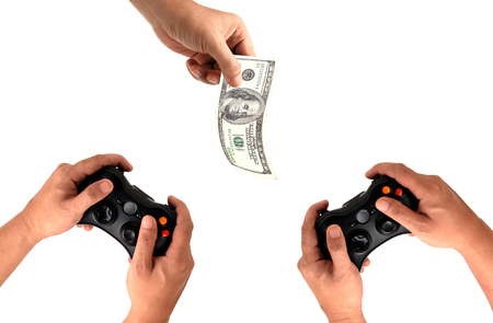 fullhd: Hands Holding Gamepad isolated on white Stock Photo