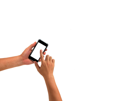 trackpad: hand holding cell phone isolated on white Stock Photo