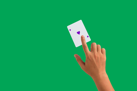 isolated playing cards and hand holding Stock Photo