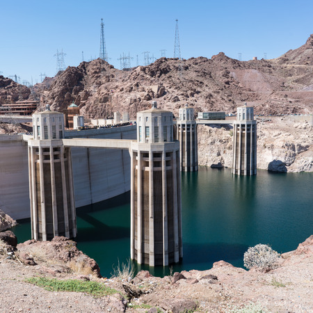 Hoover Dam during a bright sunny day in the desert Stock Photo