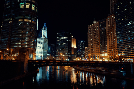 Chicago Skyline with beautiful buildings and skyscrapers in the night