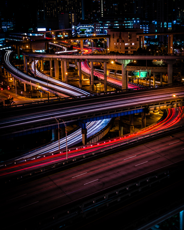 long exposure of downtown traffic