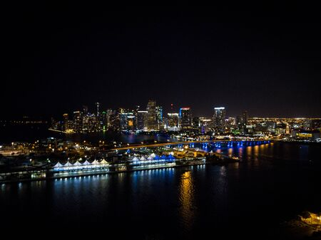 Aerial of Miami cityscape at night from a drone Stok Fotoğraf