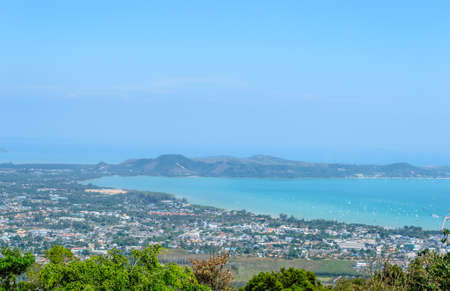 phuket province: High angle view beautiful landscape of city sea side in Phuket Province, Thailand Stock Photo