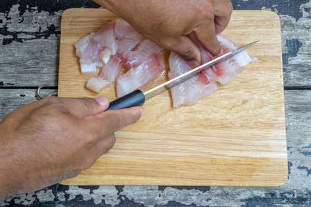 uncooked: uncooked raw fillet of pangasius