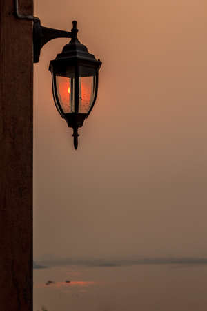 dusky: street lamp at sunset