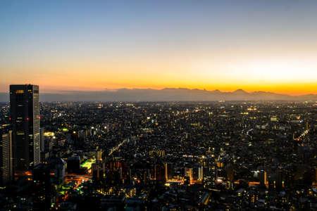 nightfall: Tokyo city at twilight